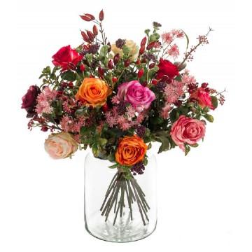 Umělé květiny - Umělá kytice mix růží 23 stonků