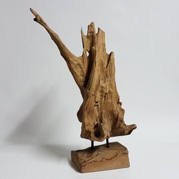 Dekorace - Teaková dekorativní skulptura AB s podstavcem 70cm