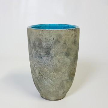 Keramické květináče - Váza Fien šedo tyrkysová 15x23cm