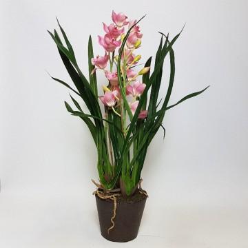 Umělé květiny - Umělá Orchidej Cymbidium Pink 75cm