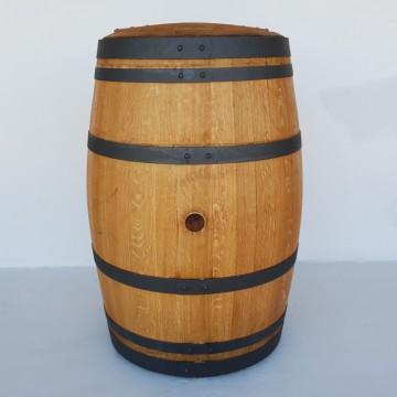 Sudové květináče - Barikovaná dubová nádrž na vodu 230 litrů s víkem