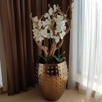 Umělé květiny - Umělá Orchidej bílá 100cm