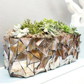 Luxusní květináče - Shell Brown Oval 60x15x18cm