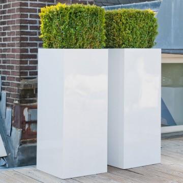 Venkovní květináče - Fiberstone Bouvy White lesklý 40x40x80cm