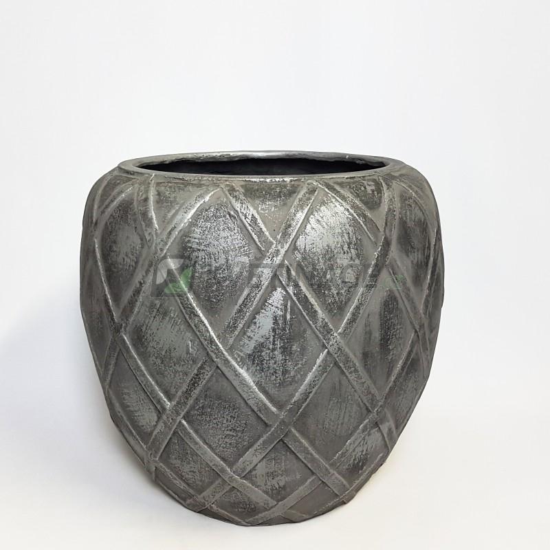 Venkovní květináče - Wire Coppa Silver 55x50cm