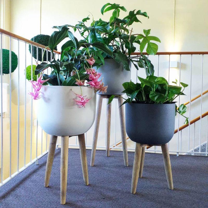 Luxusní květináče - Retro květináč dark grey 40x97cm