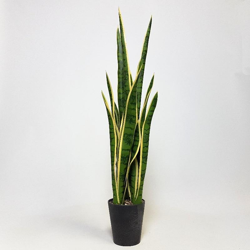 Umělé květiny - Umělá Sansevieria zeleno-žlutá 81cm