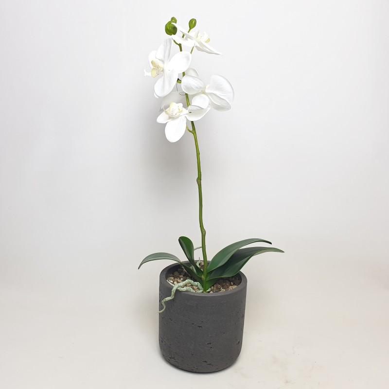 Umělé květiny - Umělá Orchidej bílá 60cm