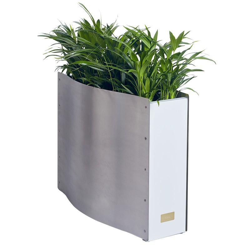 Kovové květináče - Kasper Wave standard nerez / bílý 80x33x61cm