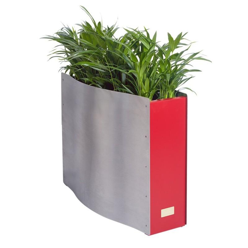 Kovové květináče - Kasper Wave standard nerez / červený 80x33x61cm