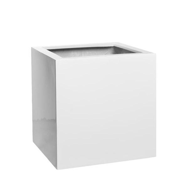 Venkovní květináče - Fiberstone Square Glossy White 25x25x25cm