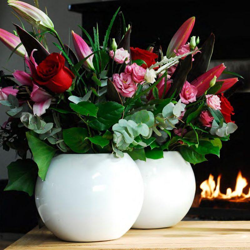 Venkovní květináče - Fiberstone Beth S White lesk 31x25cm