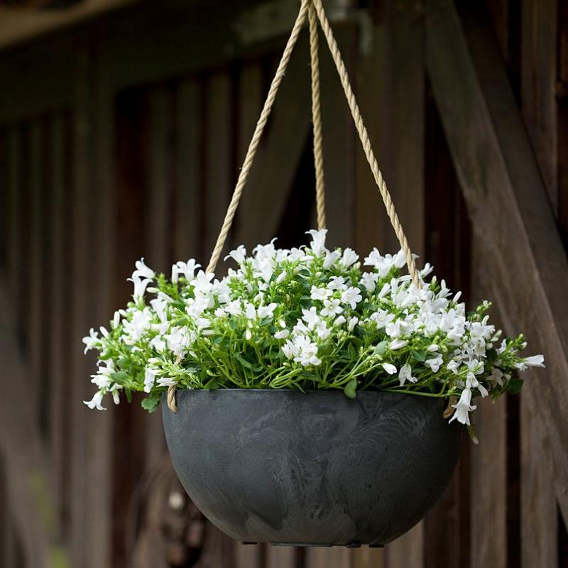 Závěsné květináče - Závěsný květináč Fiona černá 25x12cm