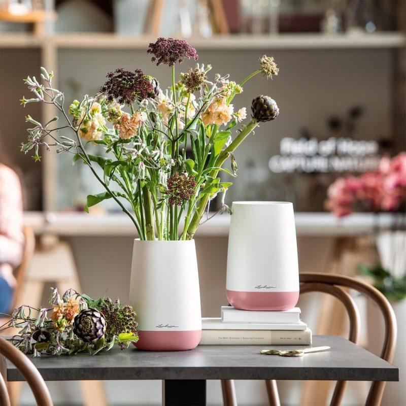 Lechuza květináče - Váza Lechuza Yula Trend bílo-růžový komplet