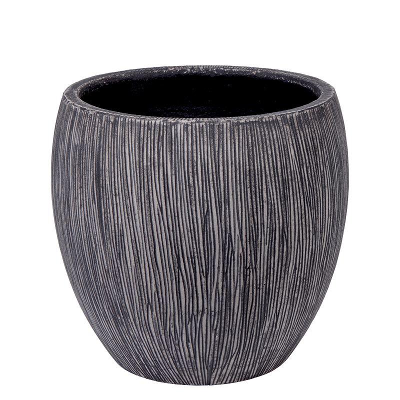 Venkovní květináče - Twist klasik černě žíhaný 42x39cm