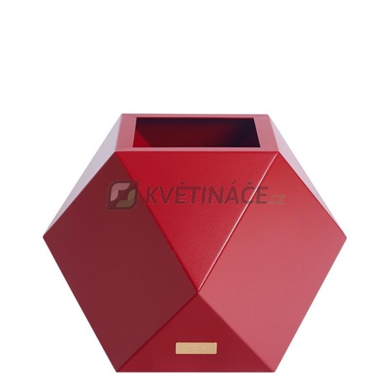 Kovové květináče - Květináč Kasper Diamant S červený 40x40xV40cm