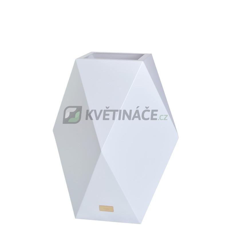 Kovové květináče - Květináč Kasper Diamant L bílý 47x47xV80cm