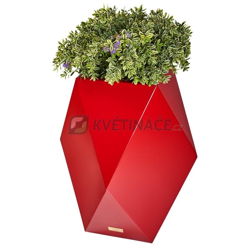 Kovové květináče - Květináč Kasper Diamant L červený 47x47xV80cm