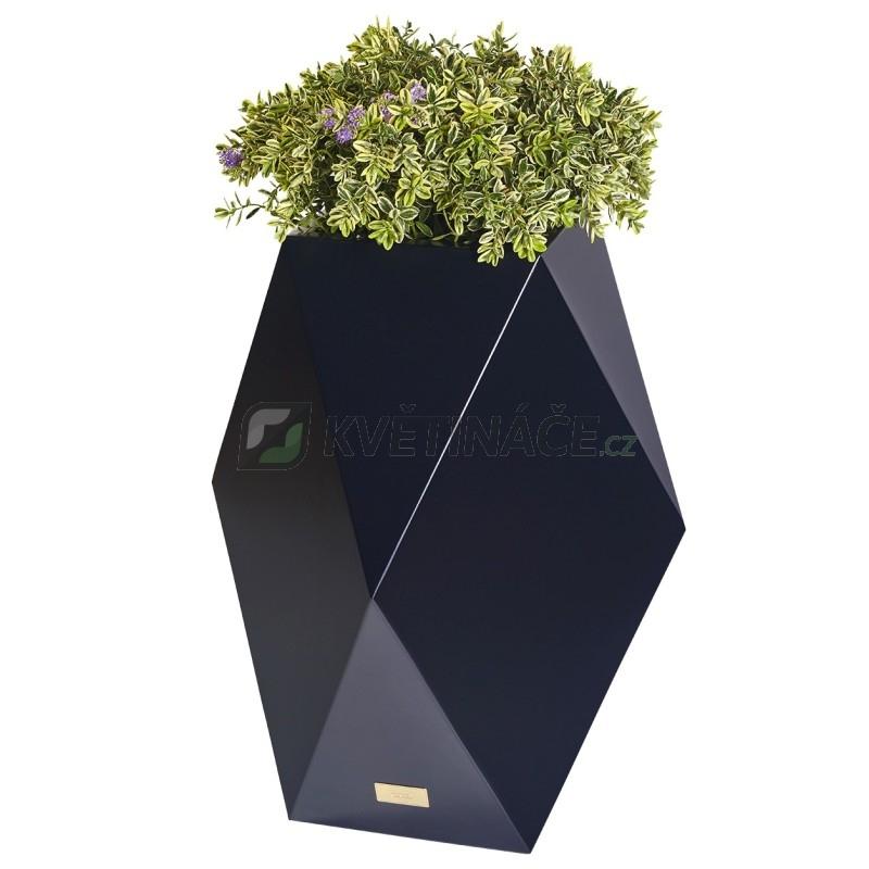 Kovové květináče - Květináč Kasper Diamant L černý 47x47xV80cm