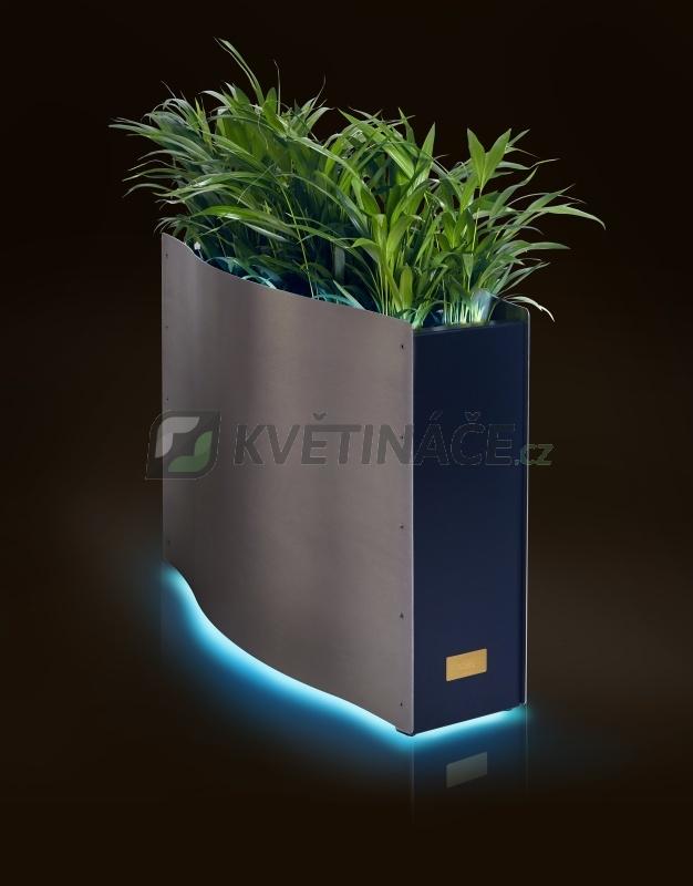 Kovové květináče - Kasper Wave LED nerez / černý 80x33x61cm