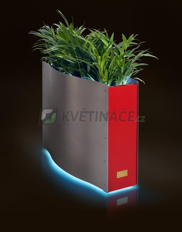 Kovové květináče - Kasper Wave LED nerez / červený 80x33x61cm