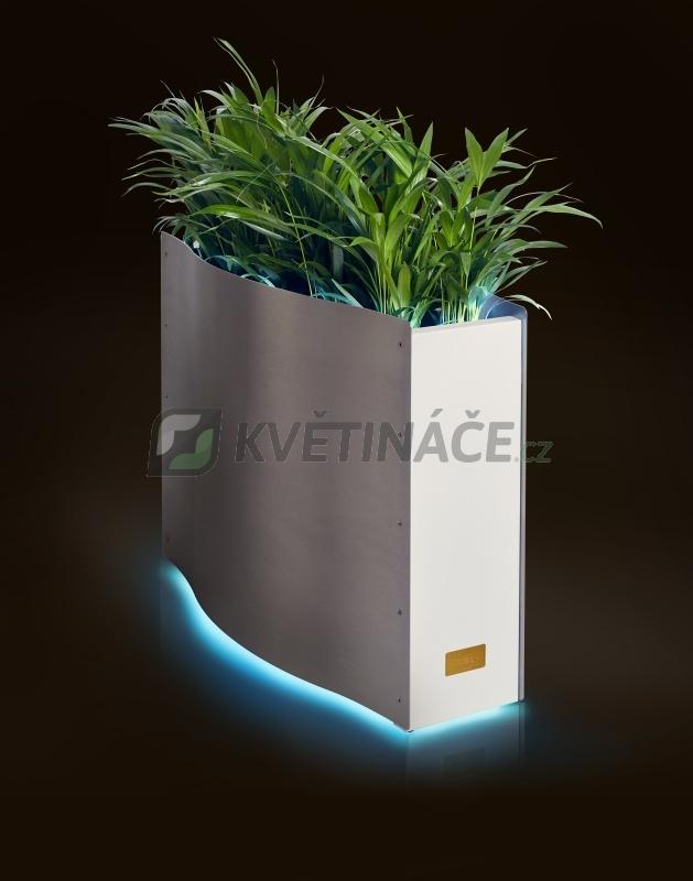 Kovové květináče - Kasper Wave LED nerez / bílý 80x33x61cm