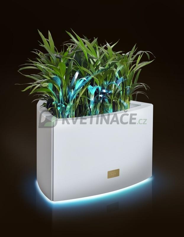 Kovové květináče - Květináč Kasper Triangle LED S bílý 57x60xV37cm