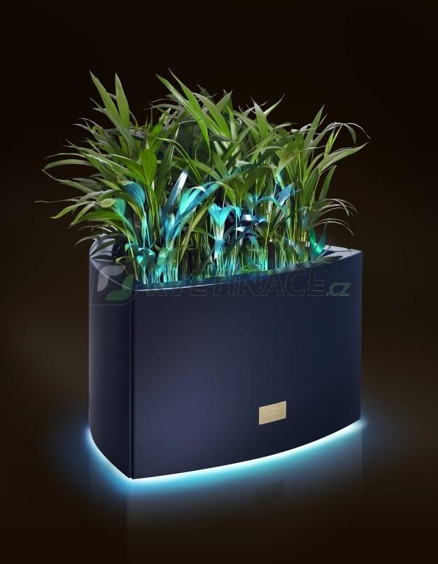 Kovové květináče - Květináč Kasper Triangle LED S černý 57x60xV37cm