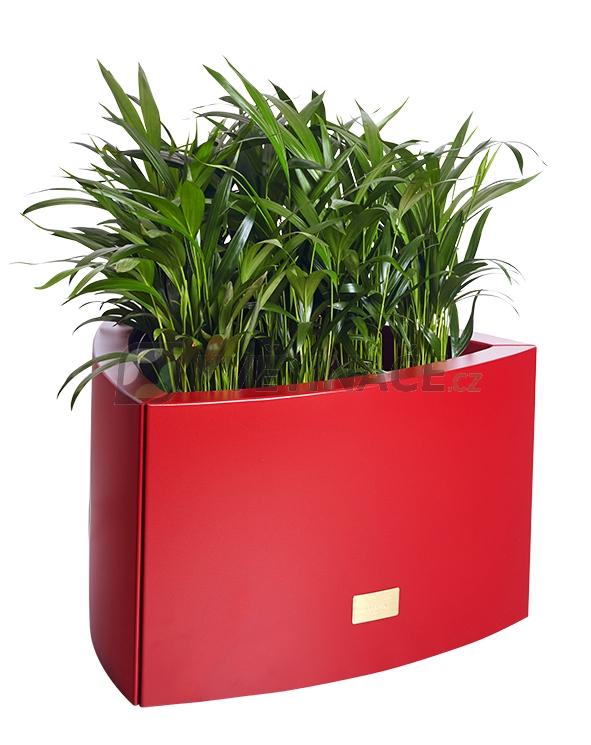 Kovové květináče - Květináč Kasper Triangle LED S červený 57x60xV37cm