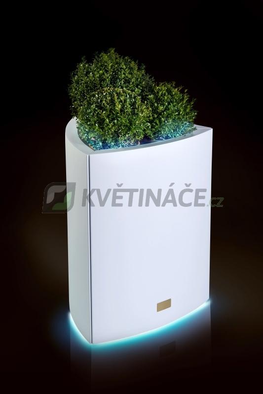 Kovové květináče - Květináč Kasper Triangle LED L bílý 57x60xV73cm
