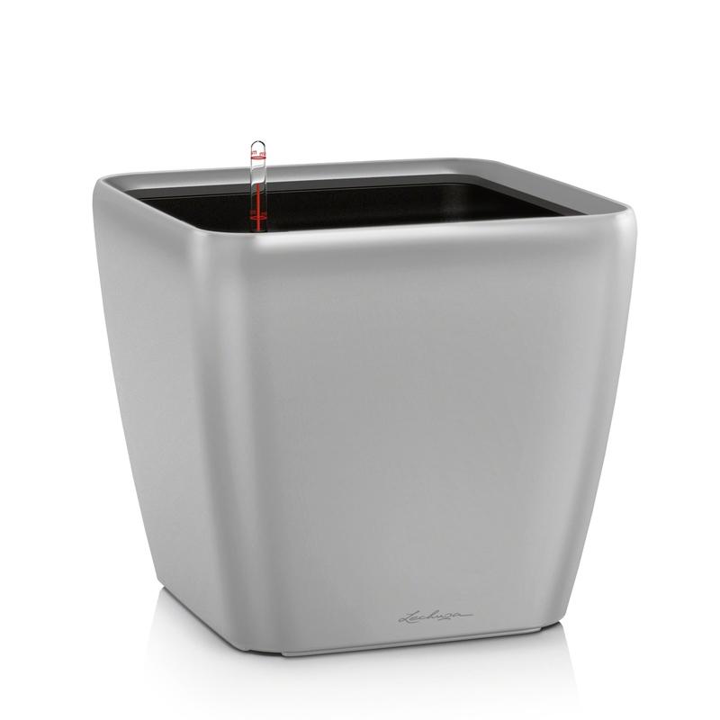 Lechuza květináče - Lechuza Quadro LS 21 Silver komplet