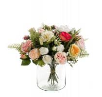 Umělá kytice romantický mix růží 17 stonků