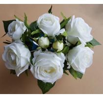 Umělá kytice z bílých růží 8 stonků