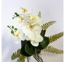 Umělá bílá orchidej s kapradím S 30x10cm