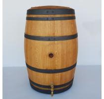Barikovaná dubová nádrž na vodu 230 litrů s výpustí a víkem