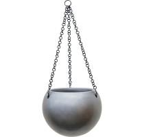 Gradient závěsná polokoule šedá 24x19cm